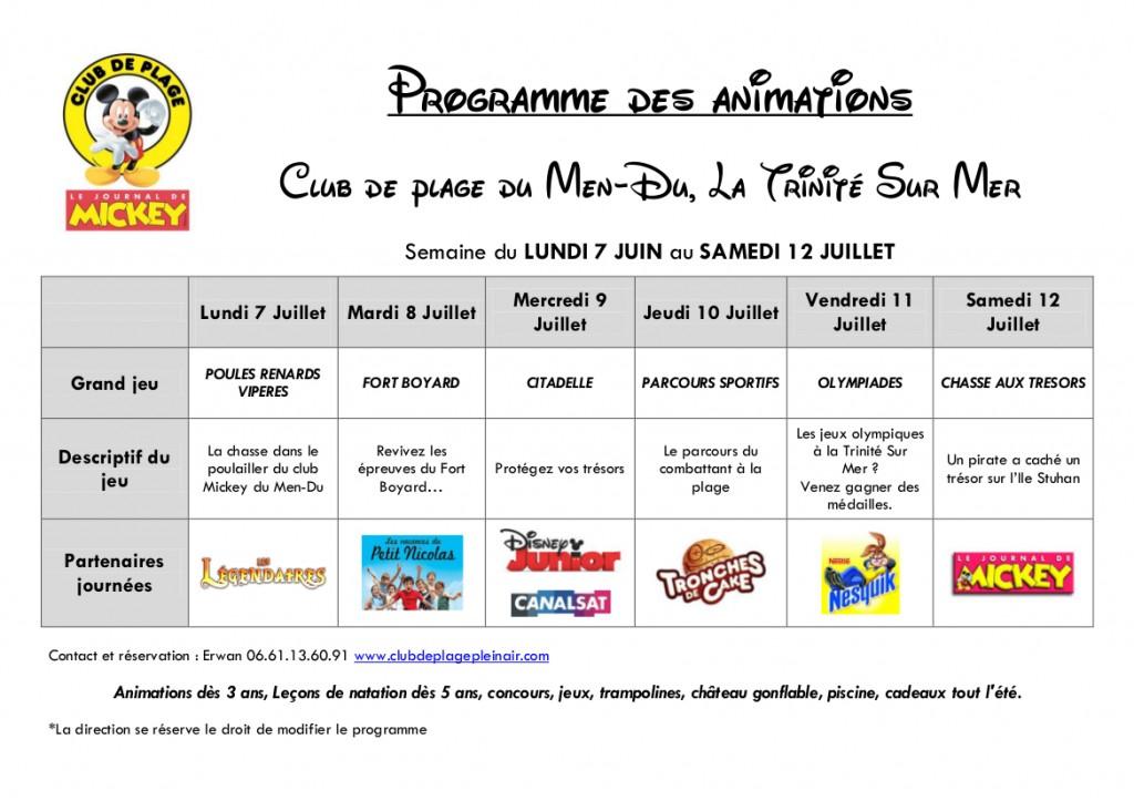 Programme animations club Men Du La Trinité Sur Mer